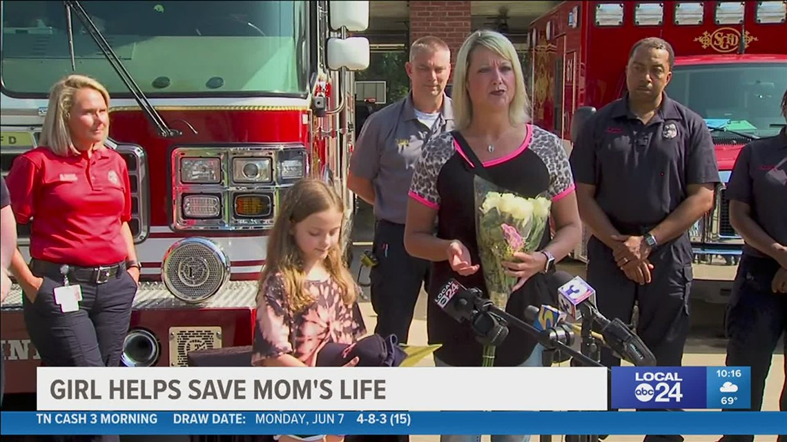 Eight-year-old daughter saves mother's life after she stopped breathing