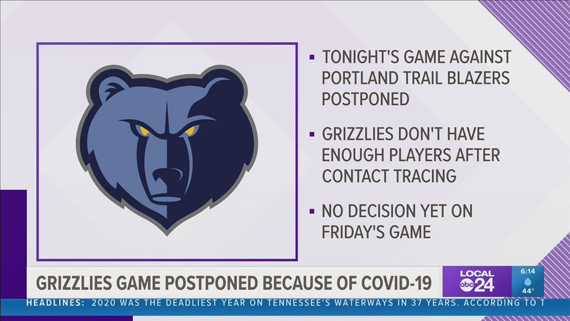 NBA postpones Grizzlies & Trail Blazers game Wednesday because of COVID-19 contact tracing
