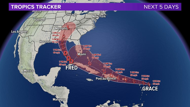 Tropical Storm Grace forms; Fred now a tropical wave