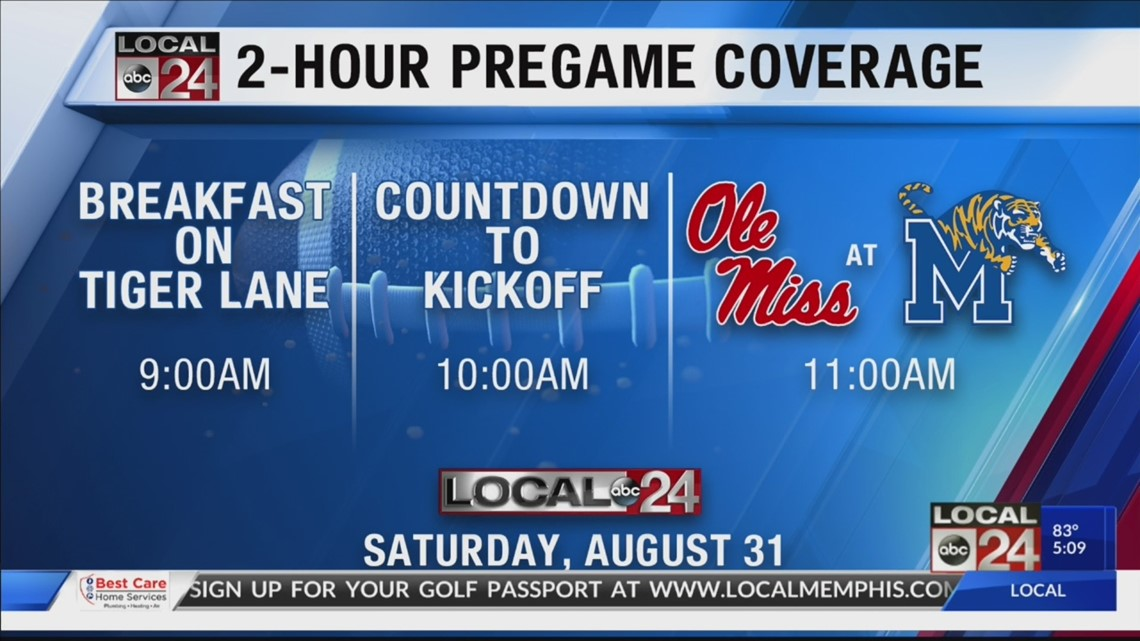Memphis Tigers vs Ole Miss Rebels football August 31 on Local 24