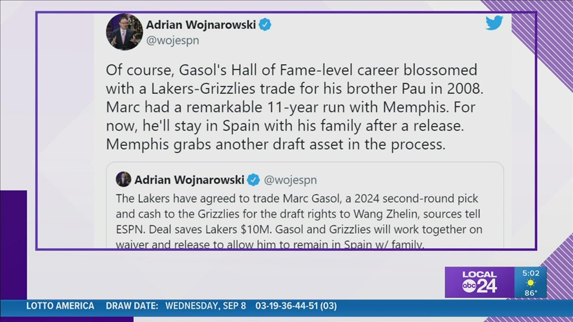 Lakers agree to trade Marc Gasol to Memphis Grizzlies