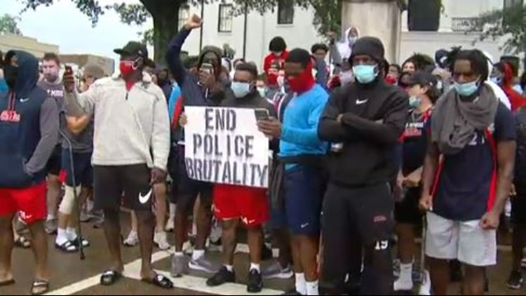 Ole Miss Football holds protest for racial justice on Oxford Square