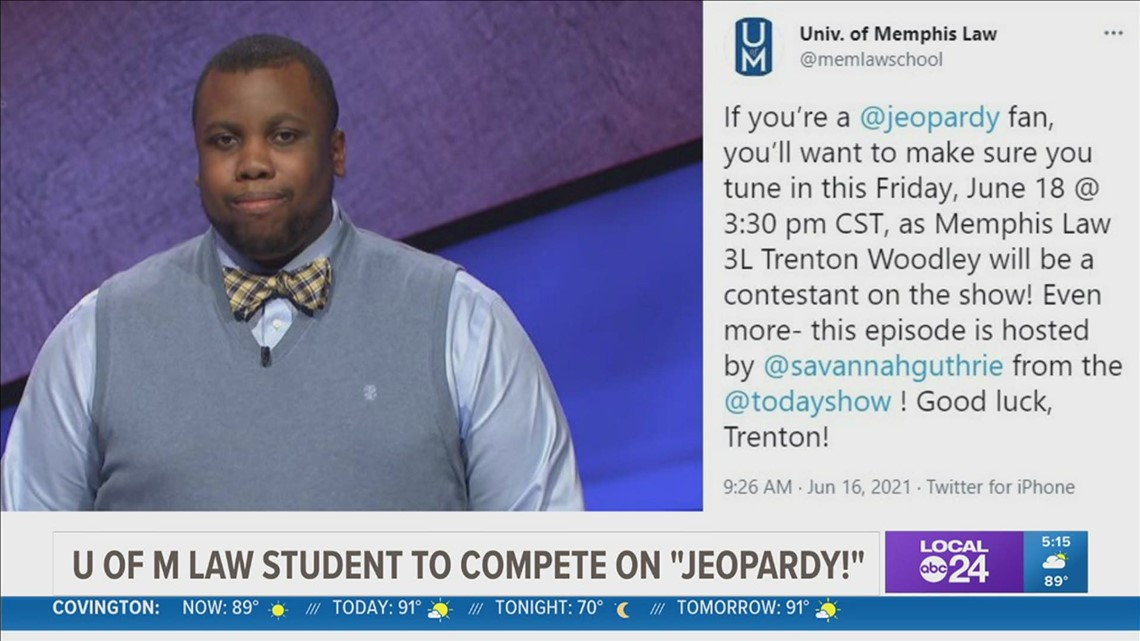 Who is Trenton Woodley? University of Memphis law student to compete on Jeopardy