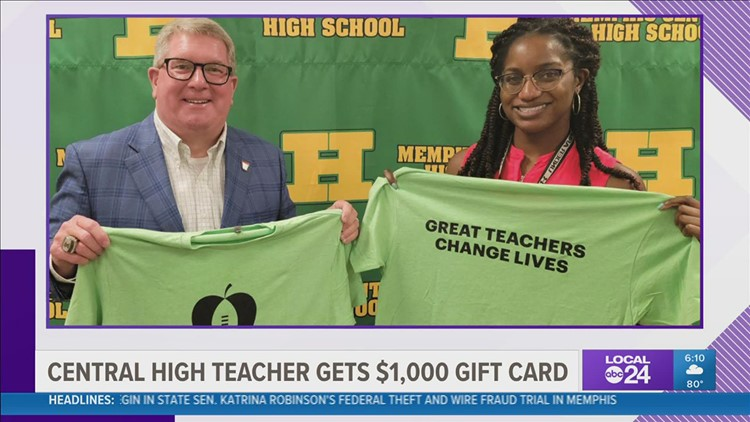 Central High teacher surprised with $1,000 as part of the AutoZone Liberty Bowl's Extra Yard for Teachers Week