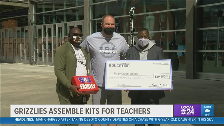 'Grizz Goes Back to School' with a special thank you to Mid-South teachers