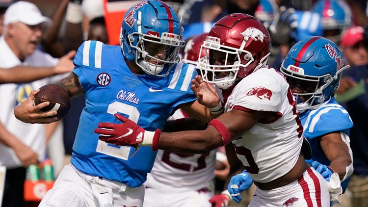 No. 17 Mississippi holds on to beat No. 13 Arkansas 52-51