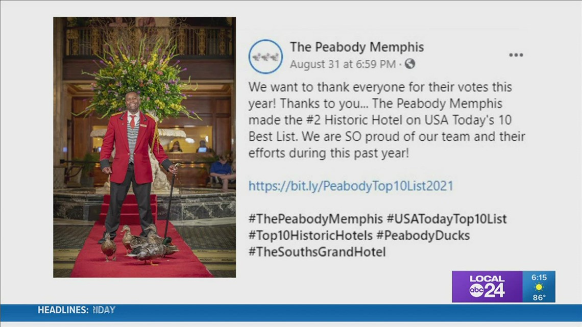 Peabody voted 2nd best historic hotel in the country in USA TODAY's 10Best Readers' Choice Awards