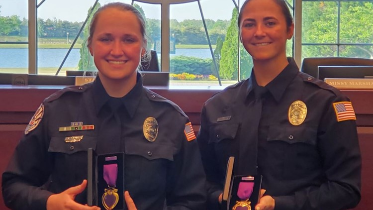 Two Collierville Police officers, dragged 300 yards during traffic stop, earn Purple Heart awards