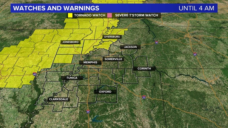 A Tornado Watch has been issued for parts of the area