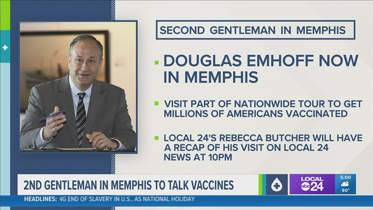 Second Gentleman Douglas Emhoff promotes COVID-19 vaccinations during visit to Memphis Wednesday
