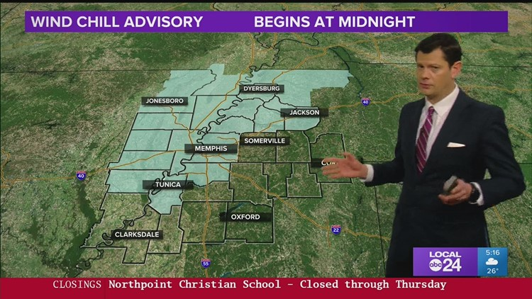 John Bryant says wind chills could fall below zero tonight