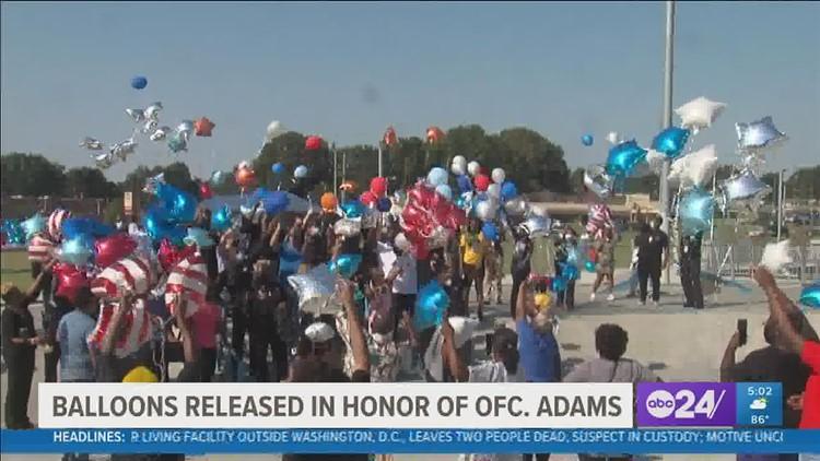 Balloon release held for fallen Memphis Police Officer Darrell Adams