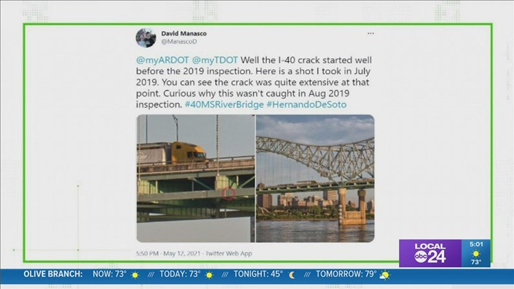 Yes, there was damage to the I-40 Hernando de Soto bridge at the time of 2019 inspection