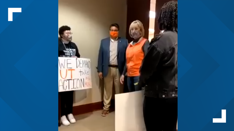 Students protest after instructor writes racist acronym on chalkboard