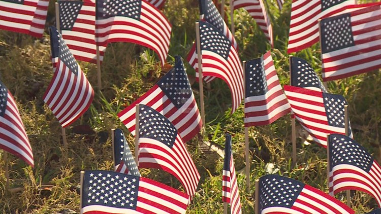 Veterans buried in Great Smoky Mountains honored with flags and wreaths at Elkmont Amphitheater