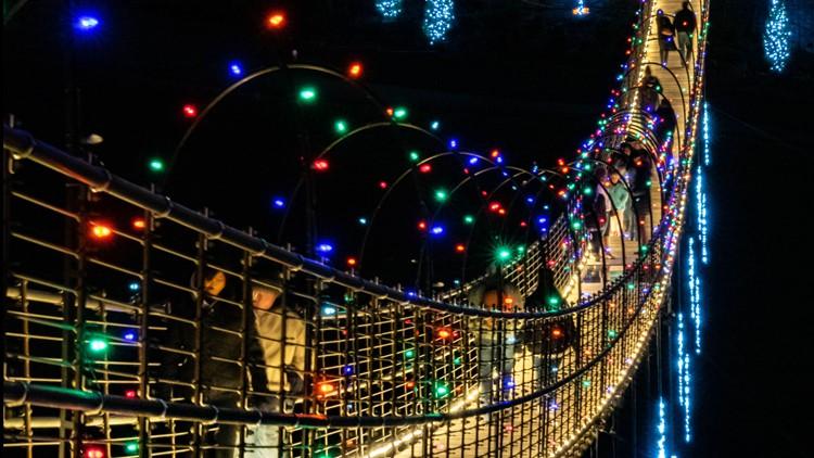 SkyBridge in Gatlinburg all lit up