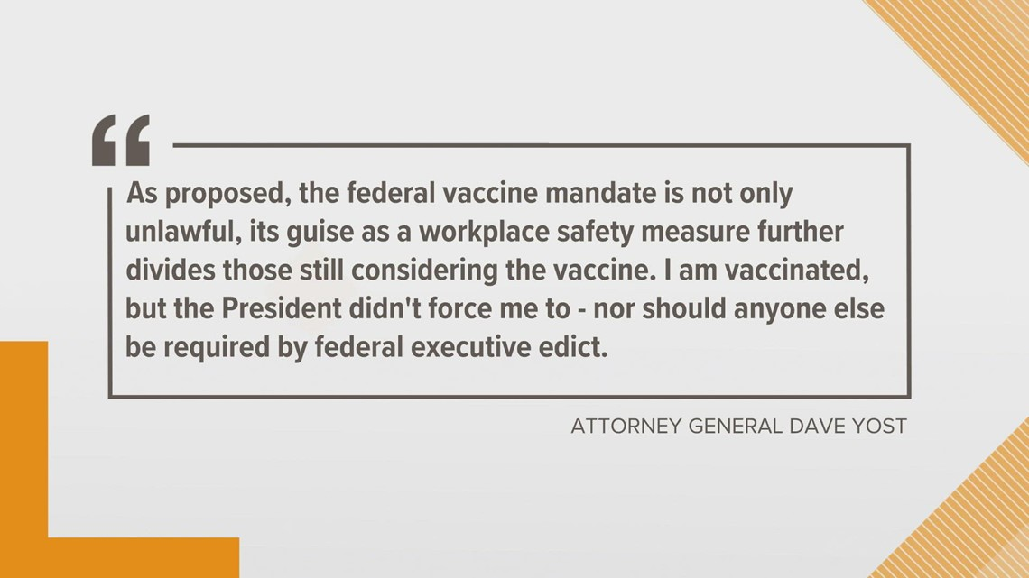 Yost among AGs threatening lawsuits over Biden's vaccine requirement