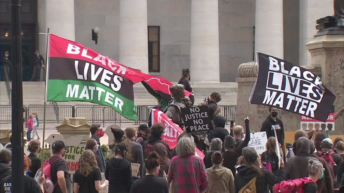 Black Lives Matter protesters march in downtown Columbus