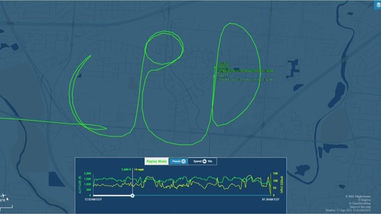 Columbus police helicopter spells 'CPD' in between calls during flight