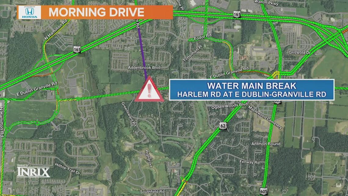 Water main break closes Harlem Road at East Dublin-Granville Road in New Albany
