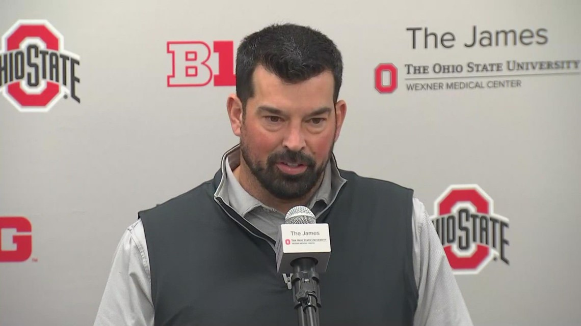 Ohio State head coach Ryan Day speaks with the media during the team's bye week
