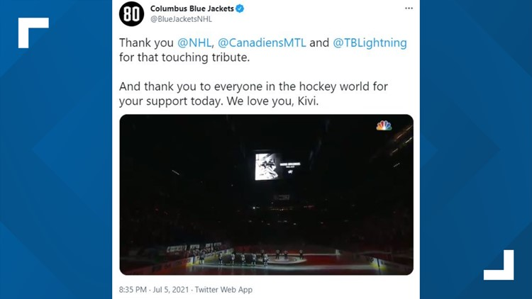 Blue Jackets' Matiss Kivlenieks honored before Stanley Cup Finals game