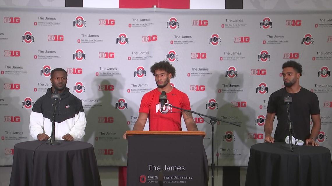 Chris Olave, Emeka Egbuka, Marcus Williamson post-game interview   Ohio State-Maryland