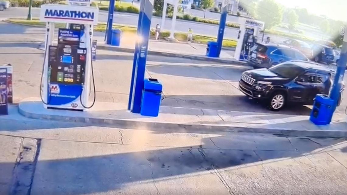 Gas station surveillance video shows man taking Jeep with 4-year-old inside