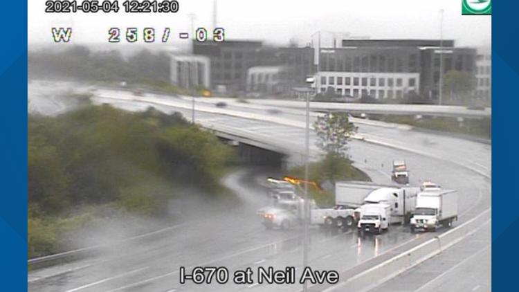 I-670 eastbound reopens near Neil Avenue after crash involving semi