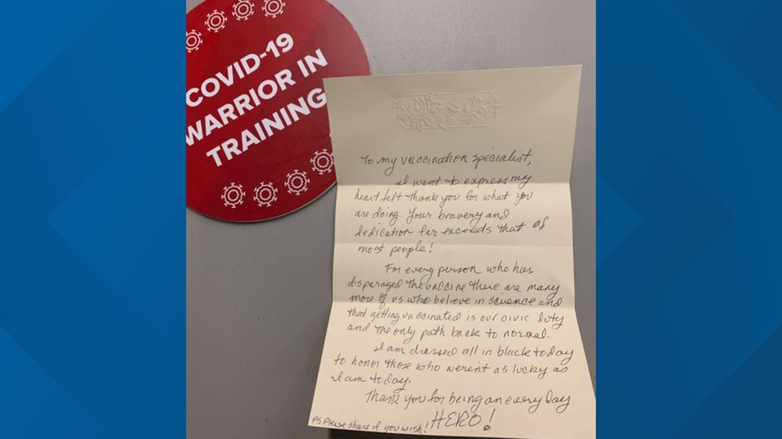 Patient leaves anonymous letter for nurse giving vaccine at The Schott