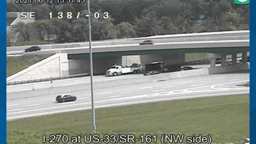 1 injured after truck overturned on I-270 northbound at US 33 in Dublin