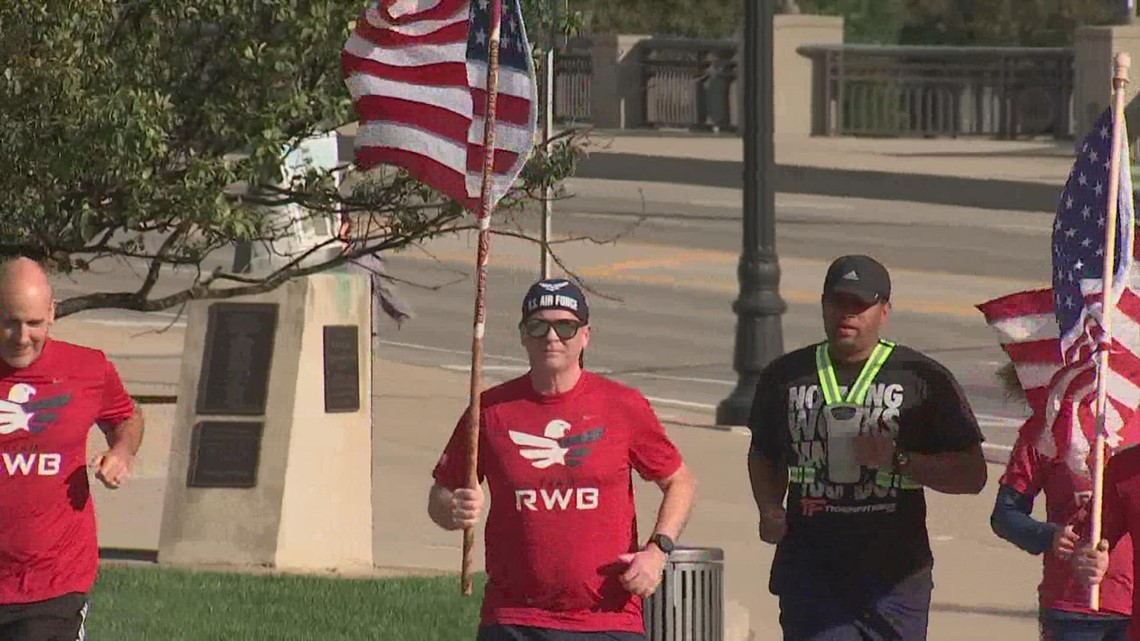 Team Red, White & Blue holds Old Glory Relay traveling with American Flag across Ohio