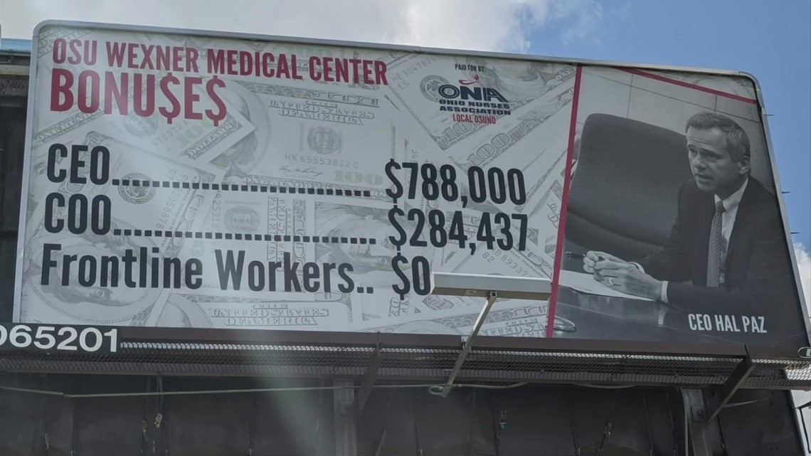 Ohio State responds to billboard accusing Wexner Medical Center of not paying frontline workers bonuses
