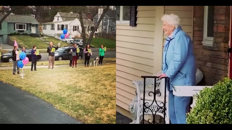 Social distancing birthday: Family celebrates NY woman's 95th birthday from her front yard