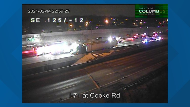 1 critical in 4-car crash on northbound I-71 near Cooke Road exit