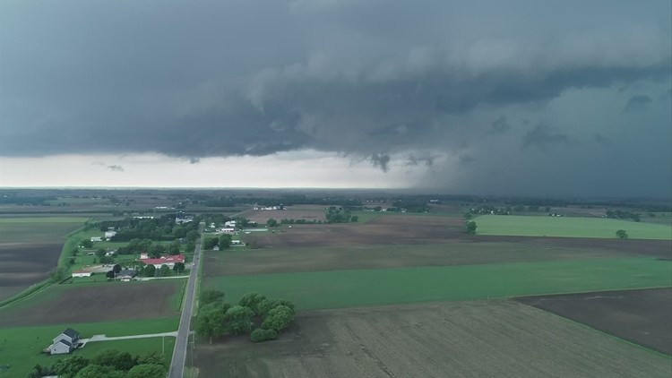 When does severe weather season peak in central Ohio?