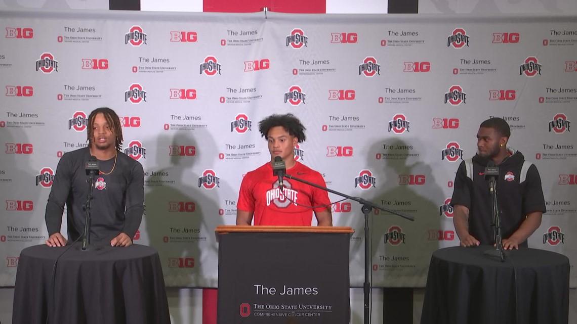 Cam Brown, Cam Martinez, Ronnie Hickman post-game interview | Ohio State-Tulsa