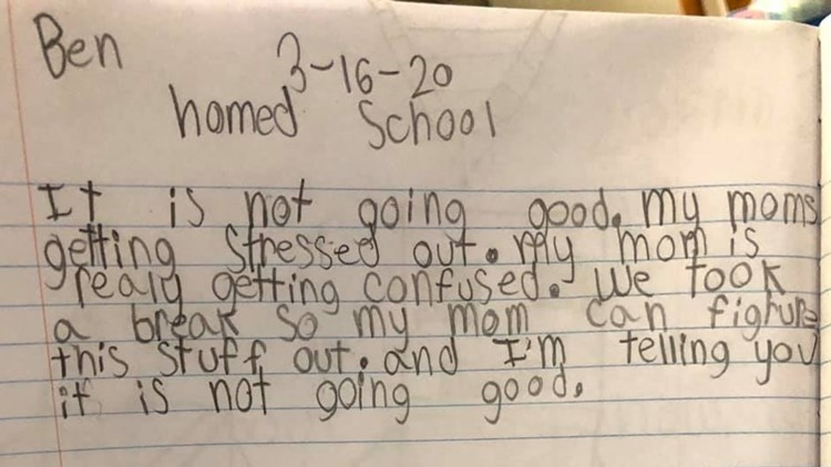 'My moms getting stressed out': Mom shares 8-year-old's hilarious journal entry about home school
