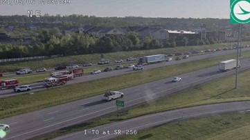 All lanes of I-70 west are closed at SR-256 due to crash