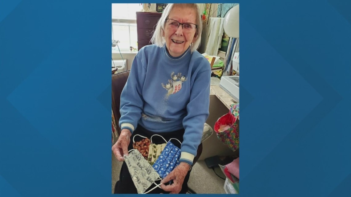 95-year-old Marysville woman makes face masks by hand