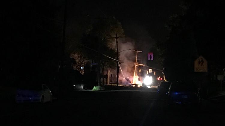 Powerline down on McGuffey Road in North Linden after car crash, roadway blocked