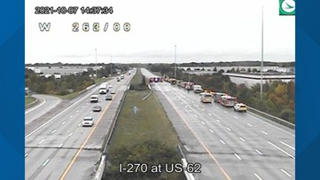 I-270 West reopens on southwest side after sulfuric acid leak from semi