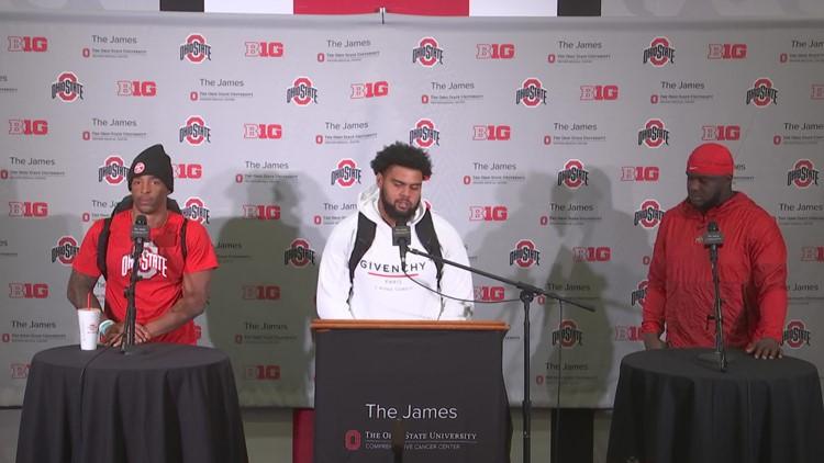 Haskell Garrett, Steele Chambers, Matthew Jones, post-game interview   Ohio State-Akron
