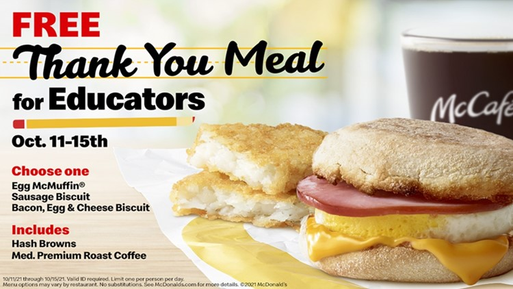 McDonald's to give free breakfast 'thank you meals' to teachers, school staff