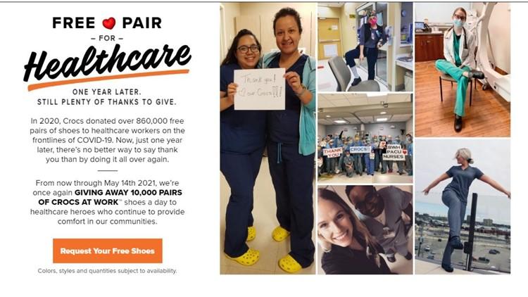 Free Crocs for health care workers in honor of National Nurses Week