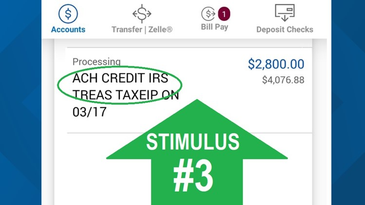 What your stimulus payment looks like in your bank account: ACH CREDIT IRS TREAS TAX EIP