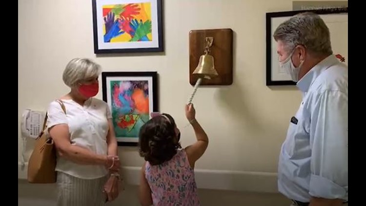 Wish granted! Girl rings victory bell marking the end of cancer treatment on her birthday