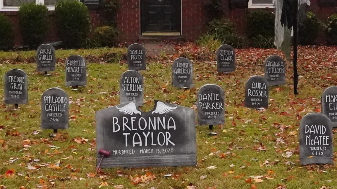 Louisville family uses Halloween decorations to spread message about Black Lives Matter
