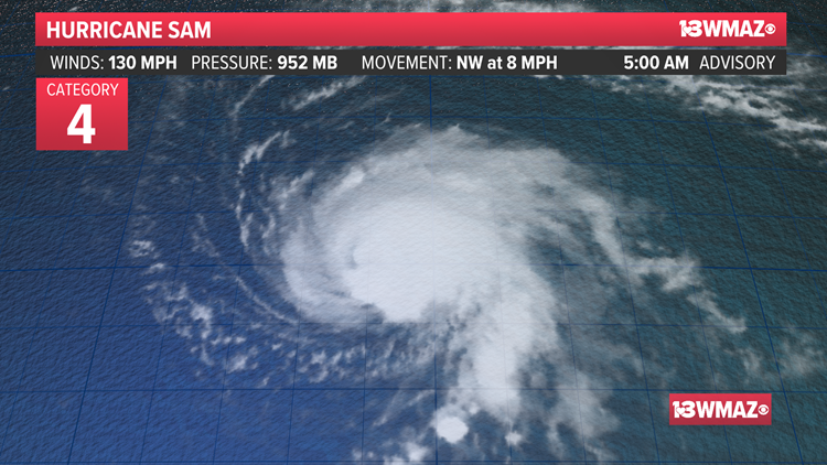Hurricane Sam is small but mighty; still well offshore
