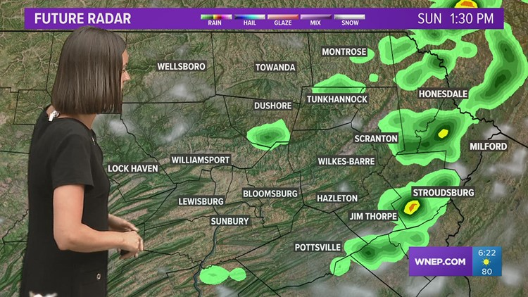 More humid Sunday with a few storms